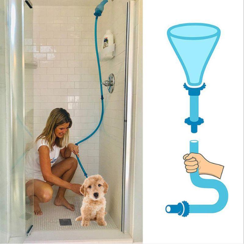 Universel Pet nettoyeur de douche tuyau d'arrosage à main rinceur connecteur chien lavage tuyau fixation Silicone pour chiens chats s'adapte