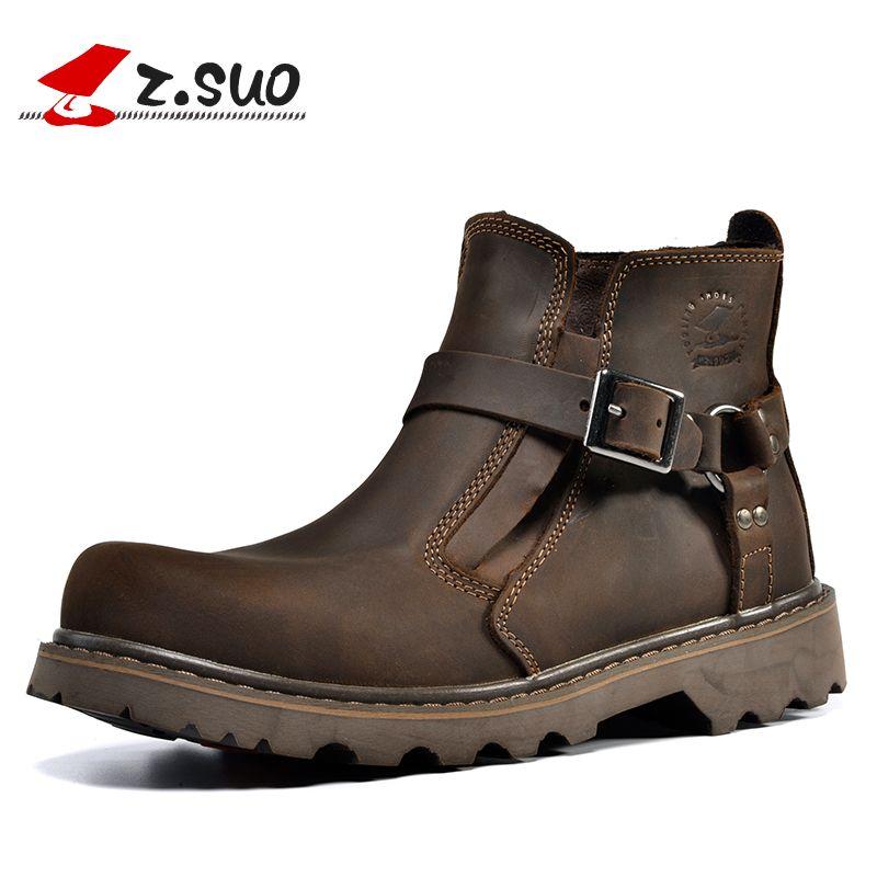 Z. suo 2017, Новая мода мотоботы Для мужчин Пояса из натуральной кожи Для Мужчин's Ботильоны Высокое качество дышащий работы ковбойские ботинки ...