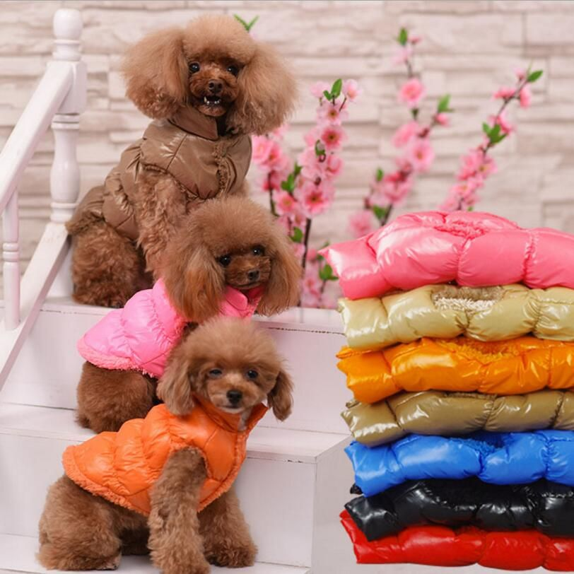 Warm Dog Clothes Winter Fleece Inside Bulldog Pet Vest Puppy Outfit Dog Jackets Windproof 8 Color Clothes for Medium Large Dogs