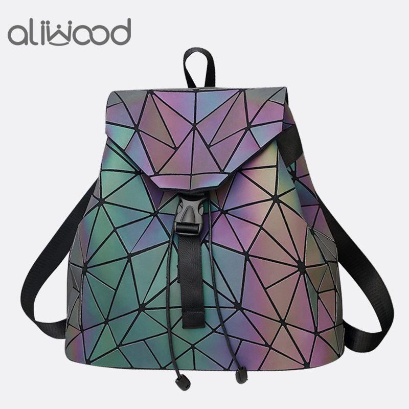 Aliwood Women's backpack Hologram Geometric Diamond Backpack Luminous Travel Men and Women backpack School bag Mochila Feminina