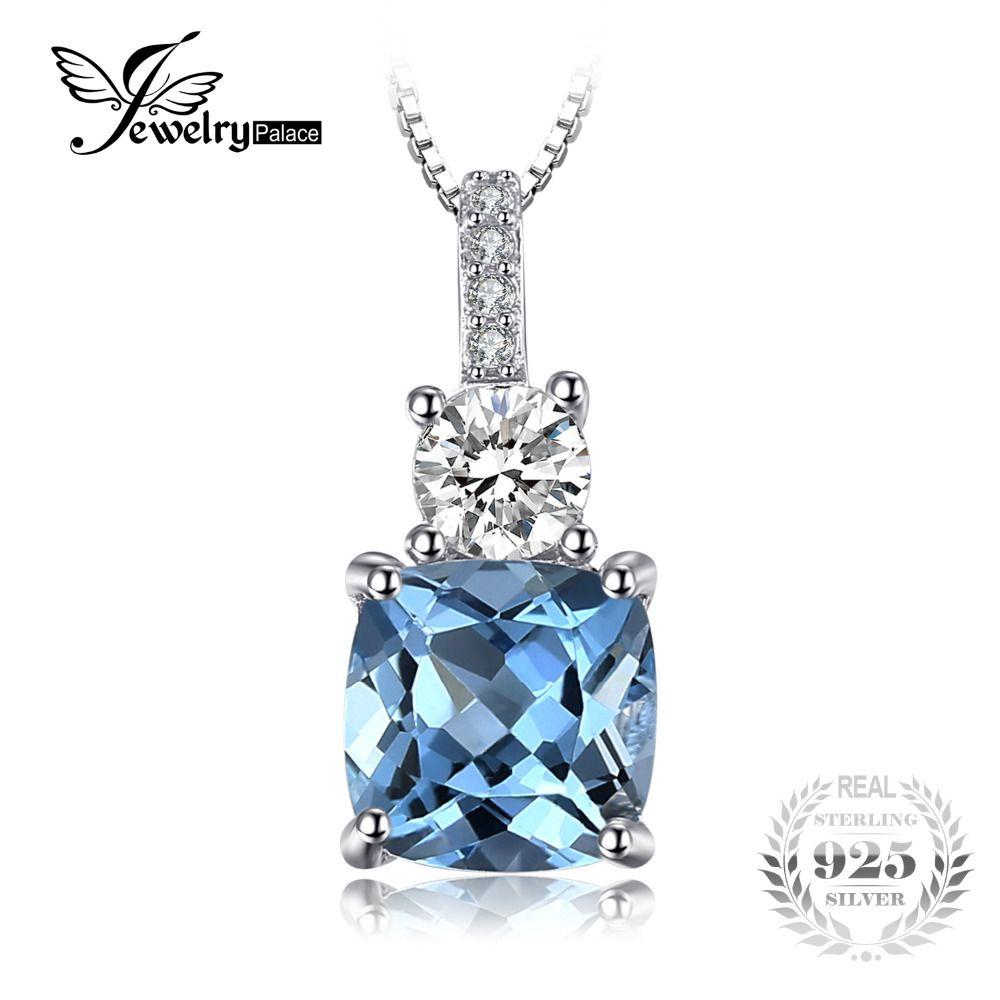 JewelryPalace 2.2ct Amortiguador de Corte Genuino Cielo Azul Topacio Colgante de Collar de Plata de Ley 925 45 cm Caja de la Cadena de Joyería Fina
