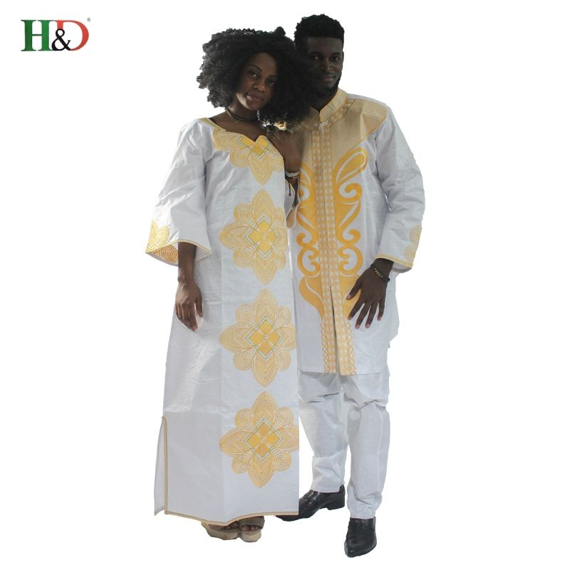 H&D 2017new traditional mens african clothing for men and women costume bazin riche embroidery design Dashiki robe Couples dress