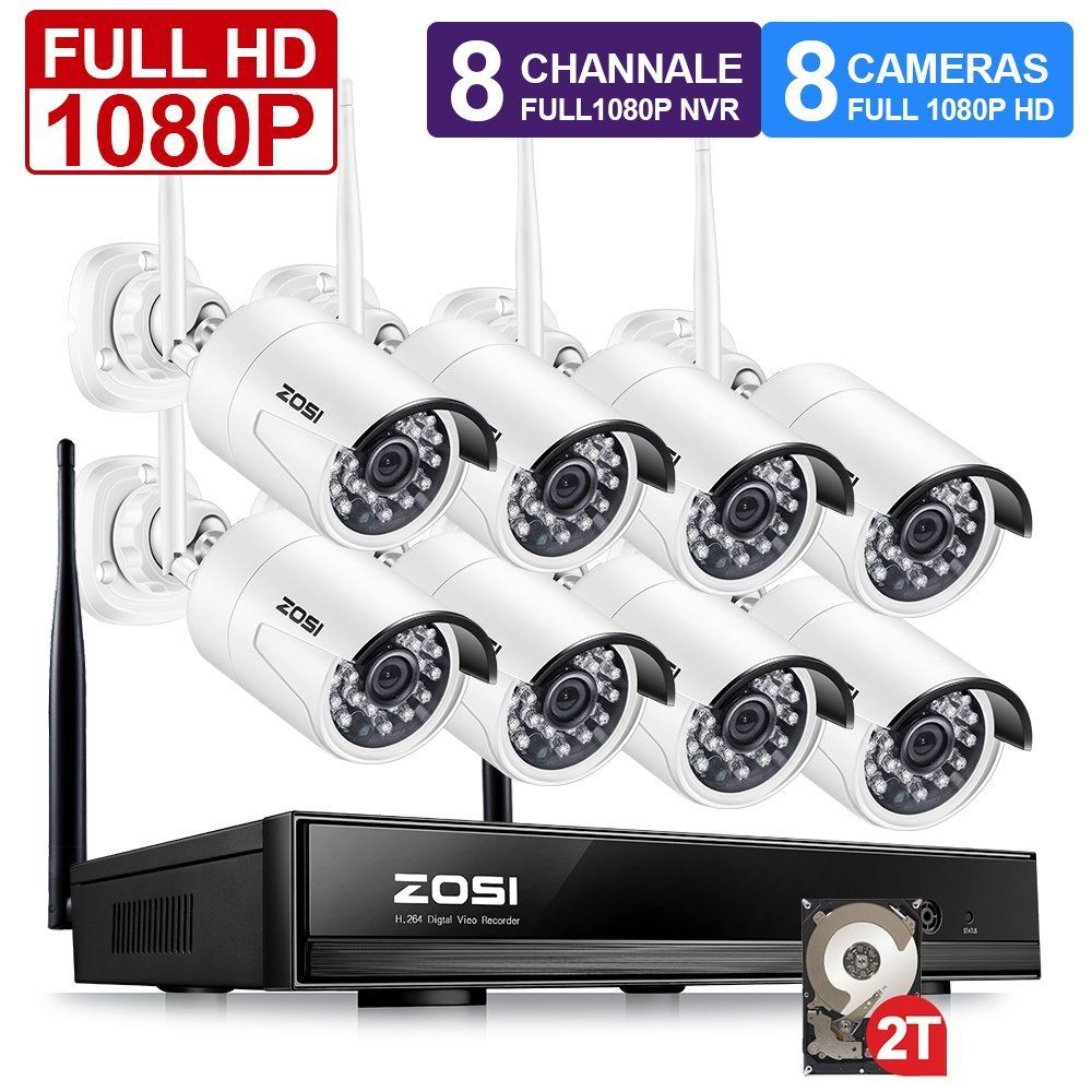 ZOSI Plug and Play 8CH 1080P HD Wireless NVR Kit P2P 2.0MP Indoor Outdoor IR Night Vision Security IP Camera WiFi CCTV System