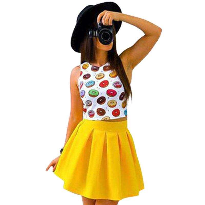 Mode Boho Robe Femmes 2017 D'été Plage Sans Manches Casual Robes Parti Short Mini Robe Deux Piece Femmes Vêtements LJ4708C