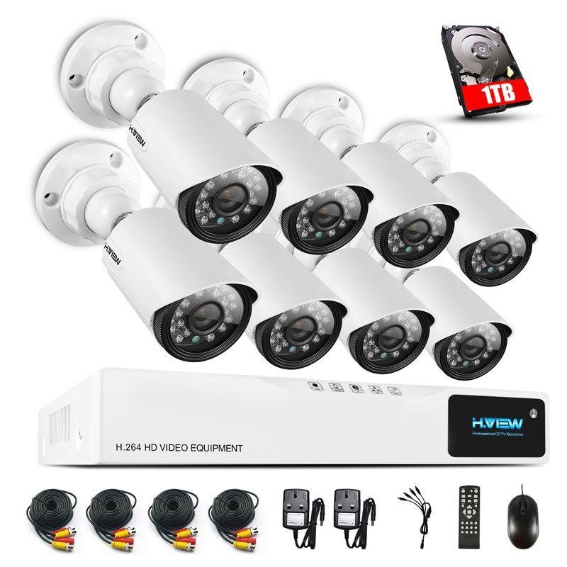 H. ANSICHT 8CH CCTV Überwachung System1080P AHD DVR 8 stücke CCTV Kameras 1,0 MP Verbesserte IR Sicherheit Kamera System mit 1 tb HDD