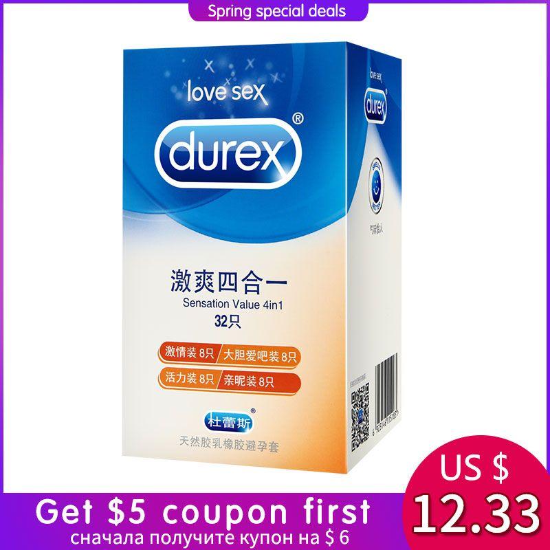 Durex Préservatifs 32 pcs/boîte Naturel Latex Lisse Lubrifié Contraception 4 Types Préservatifs pour Hommes Sex Toys Produits En Gros