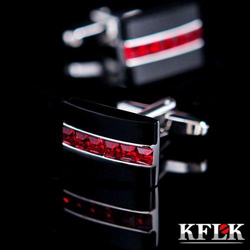 KFLK Luxury HOT HOT shirt cufflink for mens gift Brand cuff button Red Crystal cuff link High Quality abotoaduras Jewelry