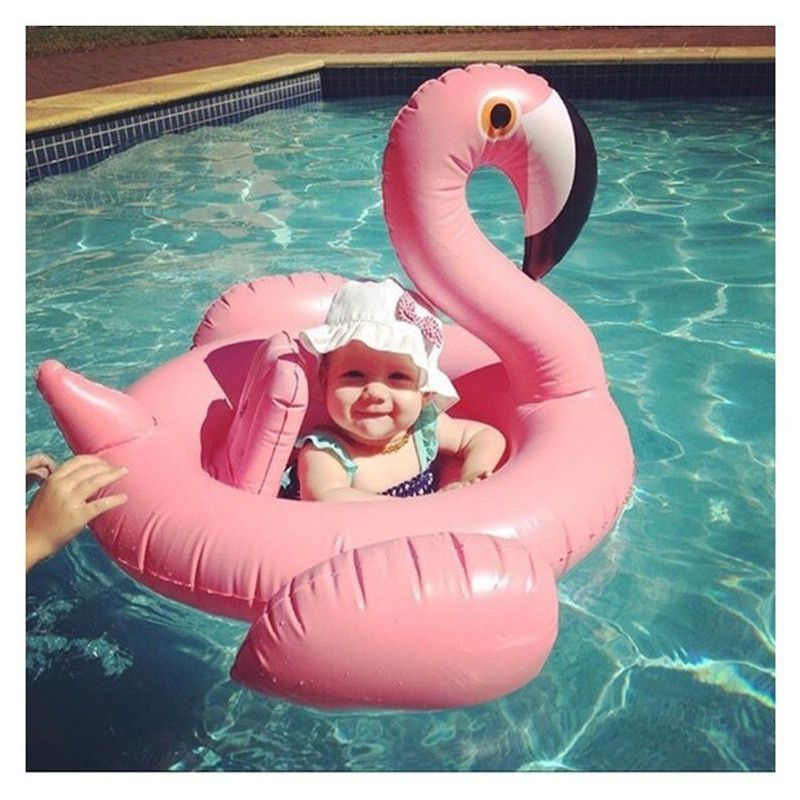 Baby <font><b>Inflatable</b></font> Flamingo Pool Float Pink Ride-On Swimming Ring White Swan Floating Water Holiday Party Toys For babies Piscina