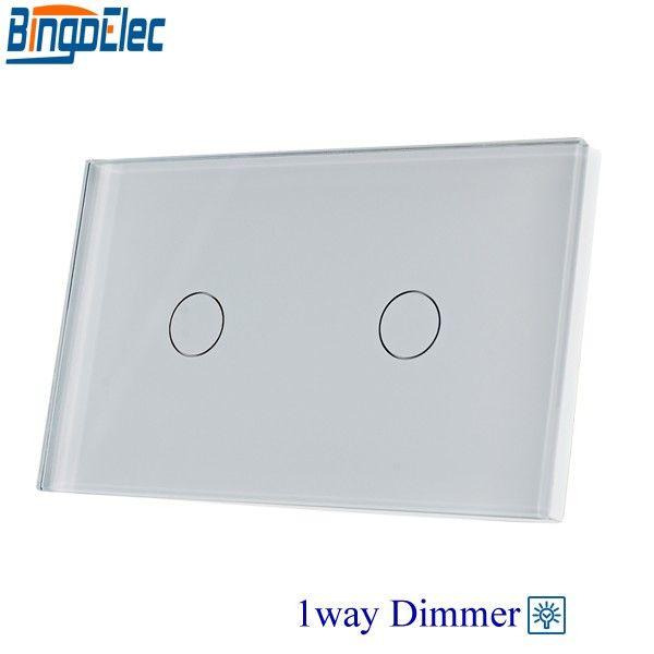BingoelecAU/US Standard Bingoelec 2gang 1way dimmer light switch,white glass panel touch dimmer switch ,fan controller switch