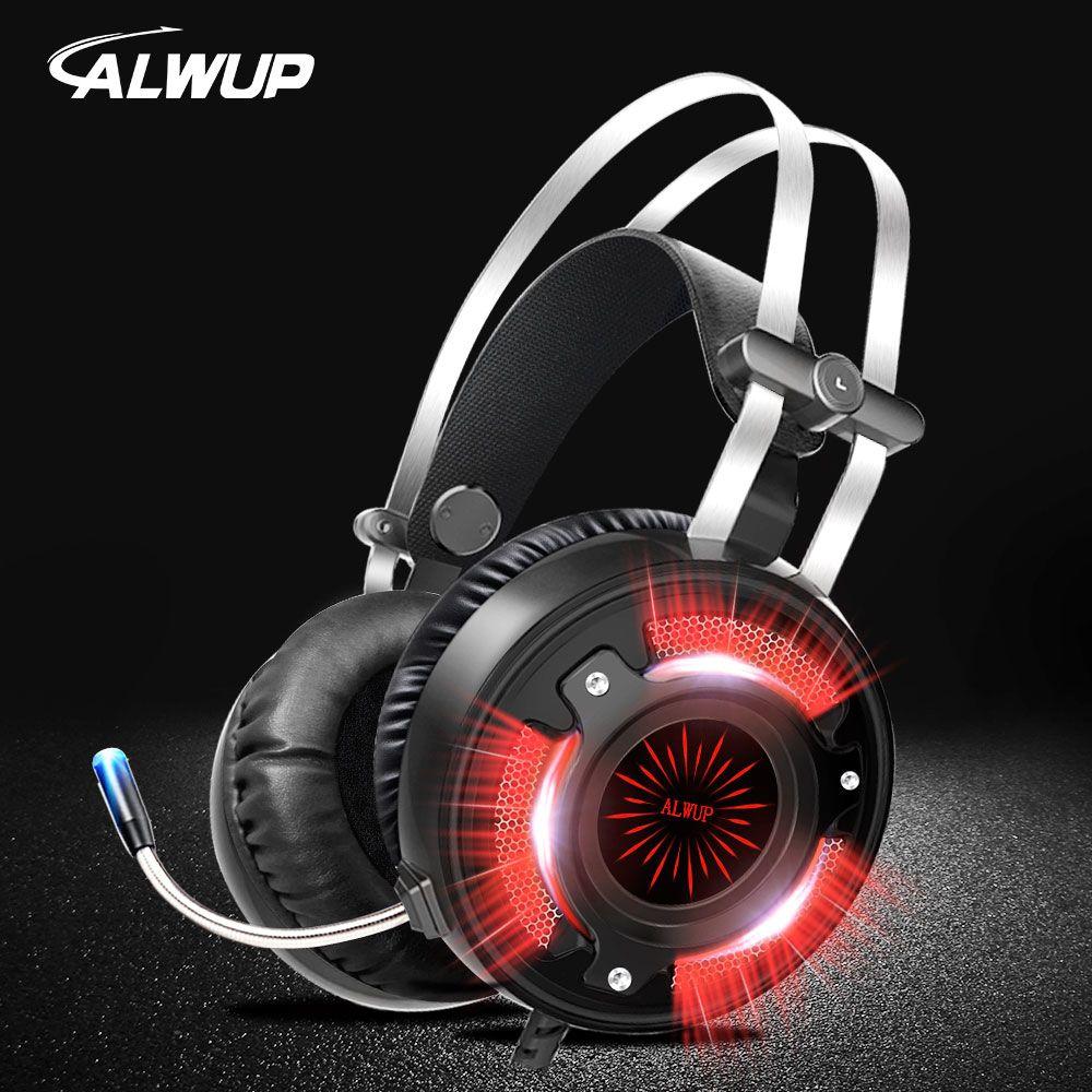 ALWUP A6 Gaming Kopfhörer für computer PC spiele mit splitter verdrahtete led HD Bass Gaming headset für ps4 xbox one mit mikrofon