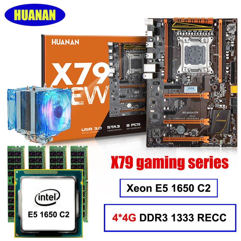 Heißer verkauf Deluxe HUANAN X79 MOTHERBOARD-FREIES CPU RAM kit Xeon E5 1650 C2 mit kühler RAM 16G (4*4G) DDR3 1333 MHz RECC alle getestet