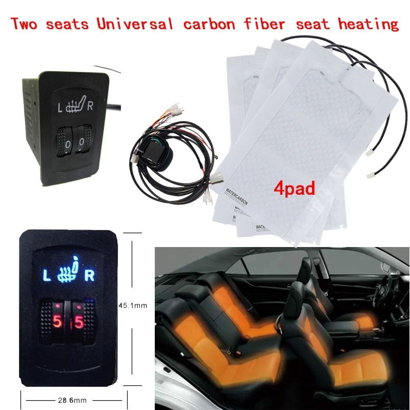 2 Seats 4 Pads Universal Carbon Fiber Car Heated Seat Heater 12V Pads 2 Dial 5 Level Switch Winter Warmer heated seat Covers