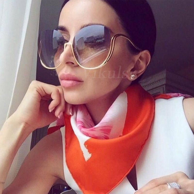2017 Rimless Gradient Sunglasses Women Luxury Brand Designer Oversized Round Sun Glasses Ladies Gradient Shades Clear Eyewear