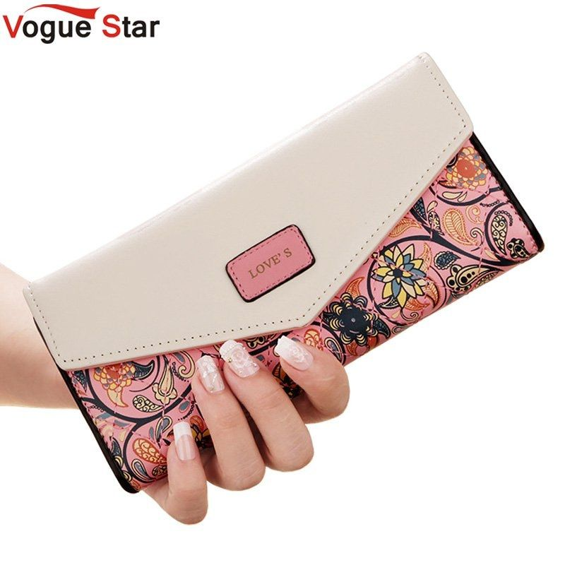 New Fashion Flowers Envelope Women Wallet Hot Sale Long Leather Wallets Popular Change Purse Casual Ladies Cash Purse LB227