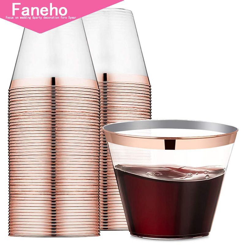 9 oz Rose Gold Rimmed Plastic Cups Clear Plastic Tumblers - Disposable Hard Party Wedding Plastic Cups 60 Pack