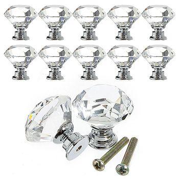 10 Pcs/pack 30mm Forme de Cristal de Diamant Verre Tiroir Cabinet Boutons et Poignées de Cuisine Poignées De Porte Armoire Hardware