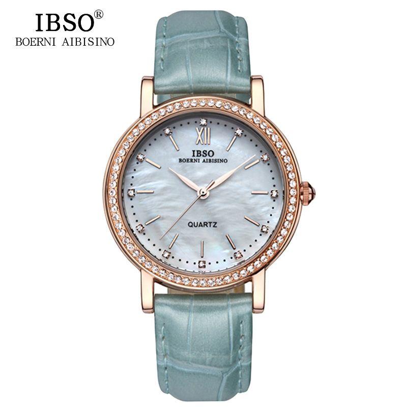 IBSO marque de mode Femme montres bracelet en cuir Montre femmes de luxe cristal diamant 2018 Quartz montres Montre Femme