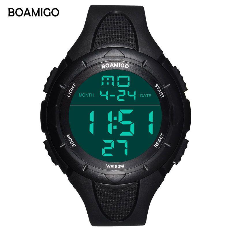 BOAMIGO Marque grand visage Hommes Numérique LED choc Sport Montres 50 M étanche de bain multifonction montres Relogios Masculino