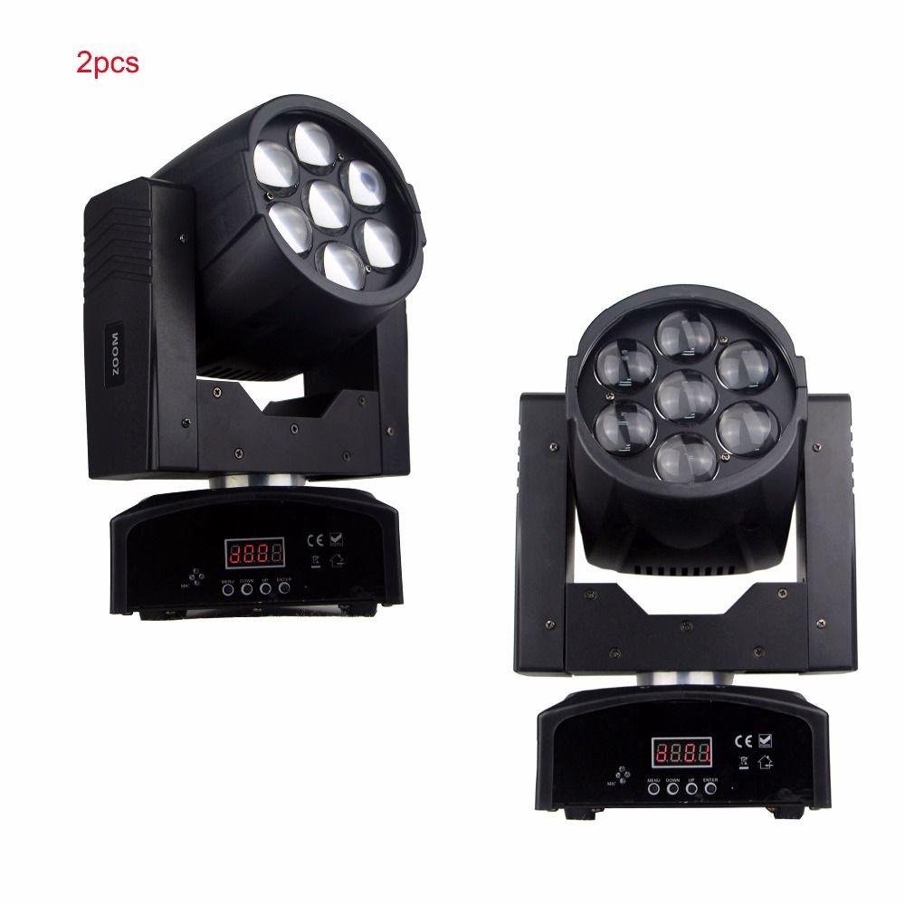 2pcs/Lot disco dj lighting zoom wash 7*15W RGBW 4in1 led color mixing mini moving head