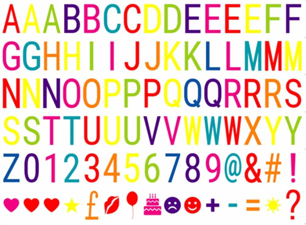 Красочные буквы символы и символы карты для A4 Размер Кино лайтбокс, буквы пачка светодиодная Кино Tic световой короб