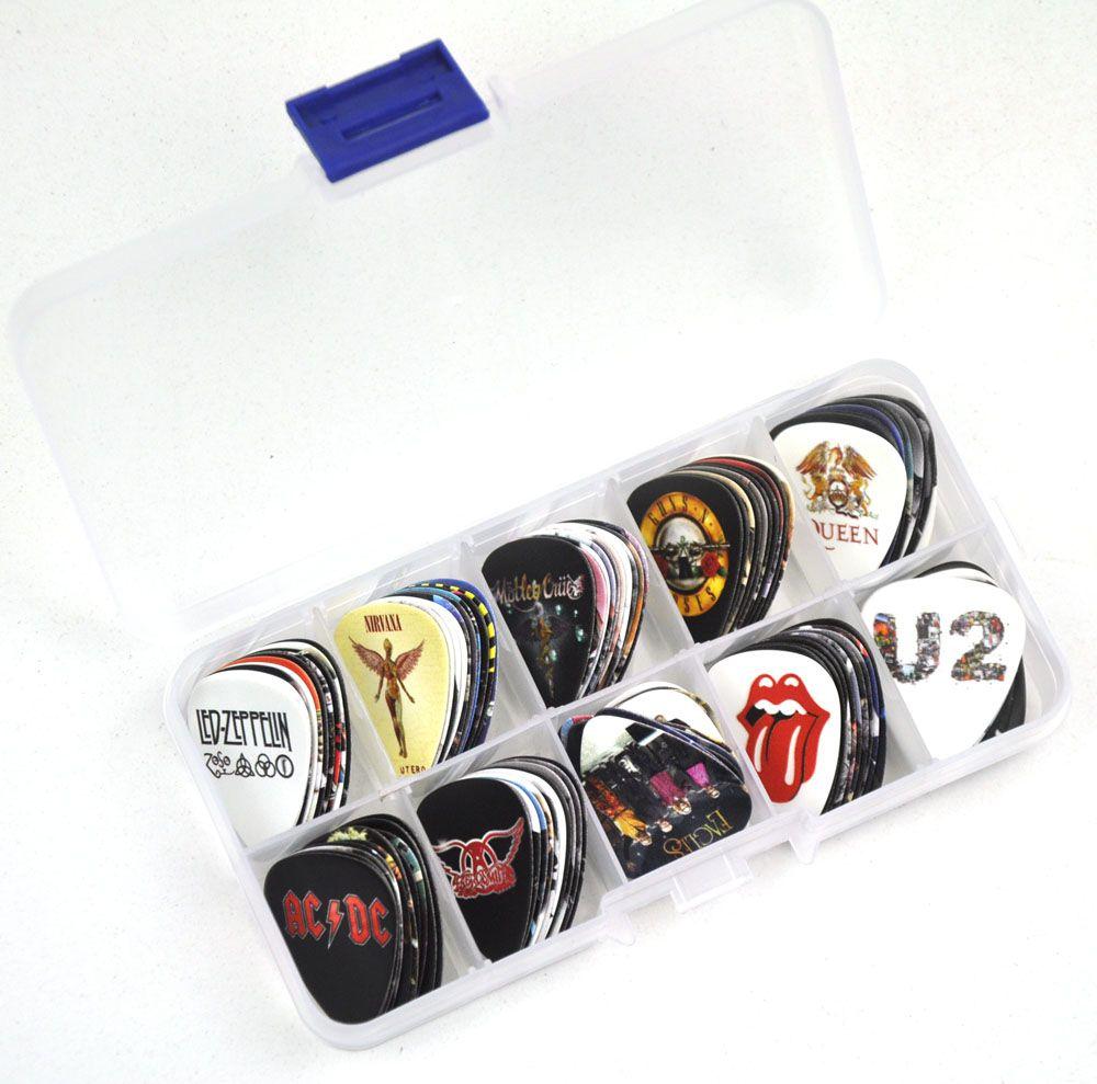 100 pièces moyen 0.71mm divers guitare de groupe de Rock choix Plectrums avec boîte