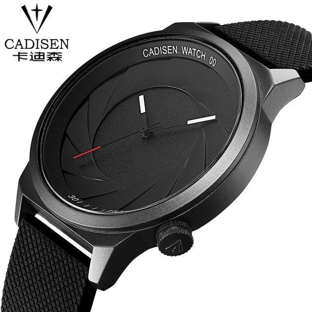 2018 CADISEN Famous Brand Black Silicone Srtap Men Sport Wristwatch Fashion Super Thin Dial Watch Male Clock Relogio Masculino