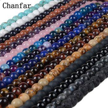 Chanfar 4 6 8 10mm Pierre Naturelle Perles Noir Lave Tigre Eye En Vrac Lâche Pierre Perles Pour DIY Faire Bracelet Collier Bijoux