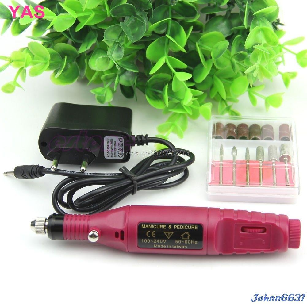 Mode Manucure Pédicure Fichier Nail Art Drill Bits Stylo Électrique Nouvelle Machine Set UE/US Plug # Y207E # Vente chaude