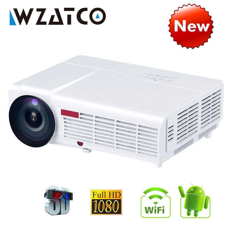 WZATCO LED96W LED 3D Projektor 5500 Lumen Android 6.0 Smart Wifi volle HD 1080 p unterstützung 4 karat Online video Beamer proyector für hause