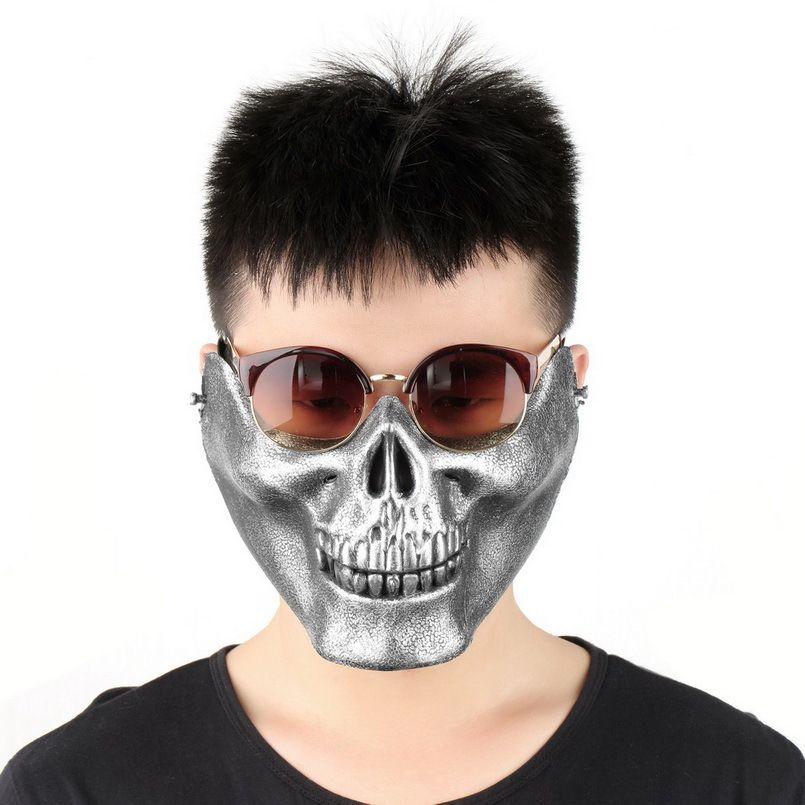 Beliebte Neue Schädel-skelett-armee Airsoft Game Hunting Biker Half Face Schützen Mask Getriebe Schutz kostenloser versand