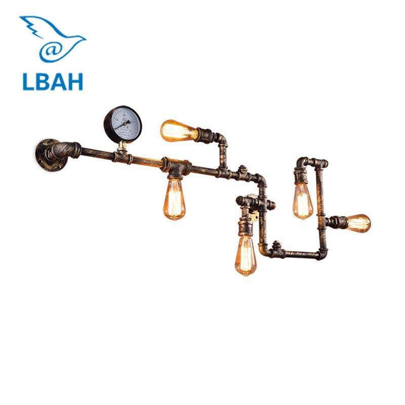LBAH new fashion wroguht iron Water pipe wall lamp vintage aisle lights loft iron wall lamp edison incandescent light bulb