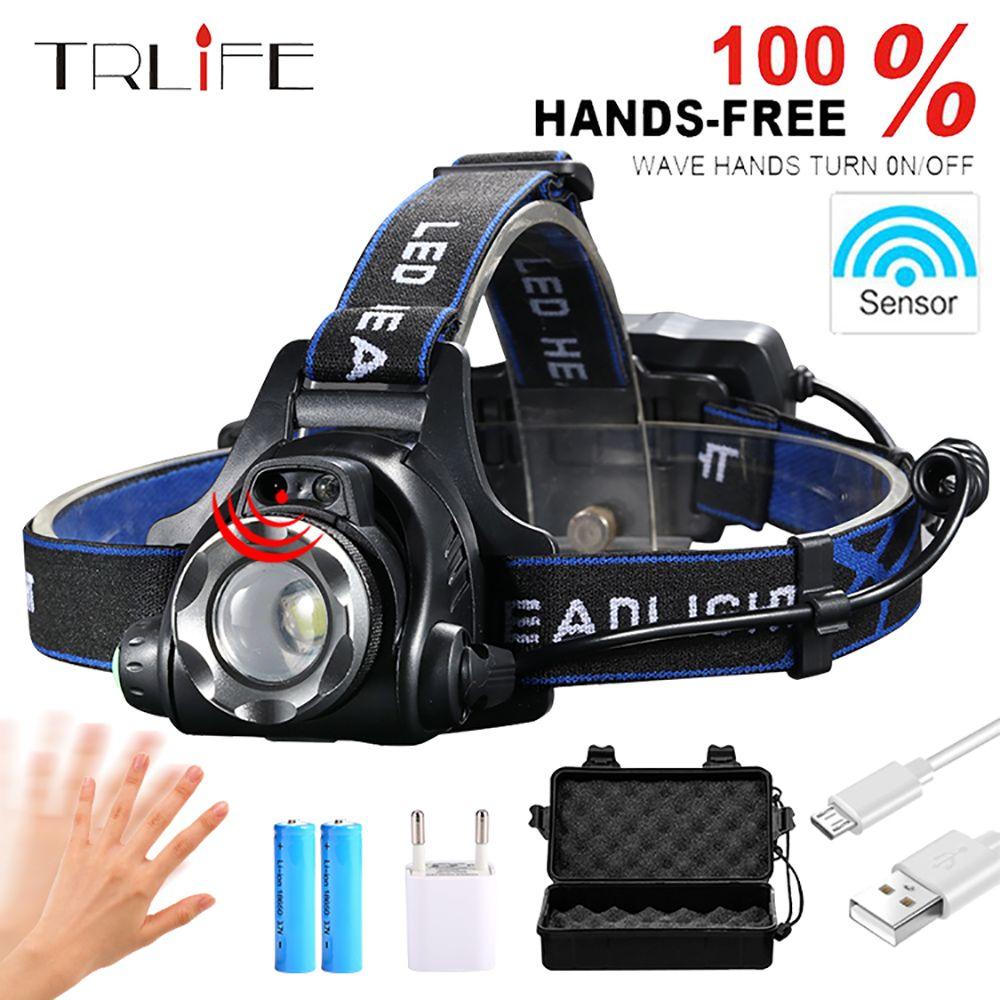 10000Lums IR Sensor Headlight USB Rechargeable Induction LED Headlamp L2/T6/Q5 LED Head Light Lamp Lantern 18650 Battery Fishing