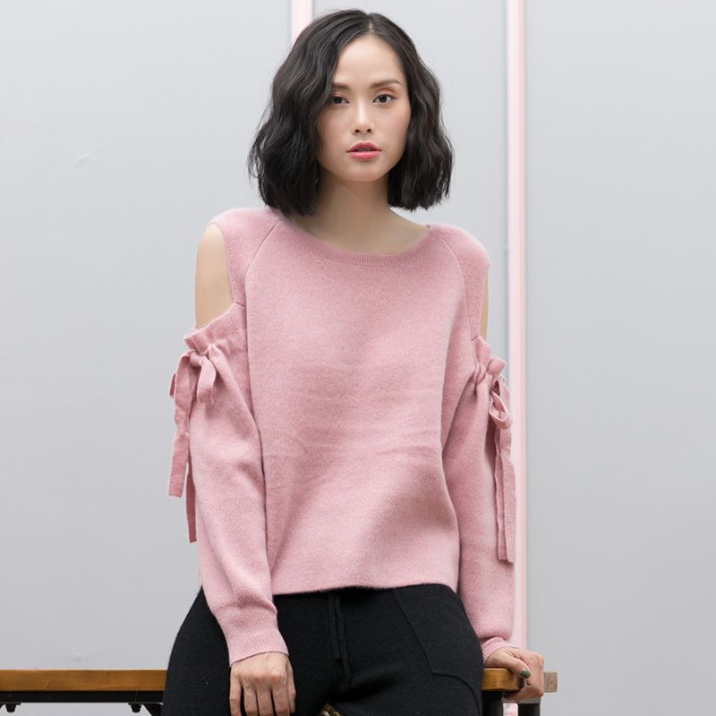 Cashmere 100 Sweater Women Pink Sweater 100% Cashmere Long Sleeve Cute Sweater Woman Pullover Cold Shoulder Tops With Bowknot