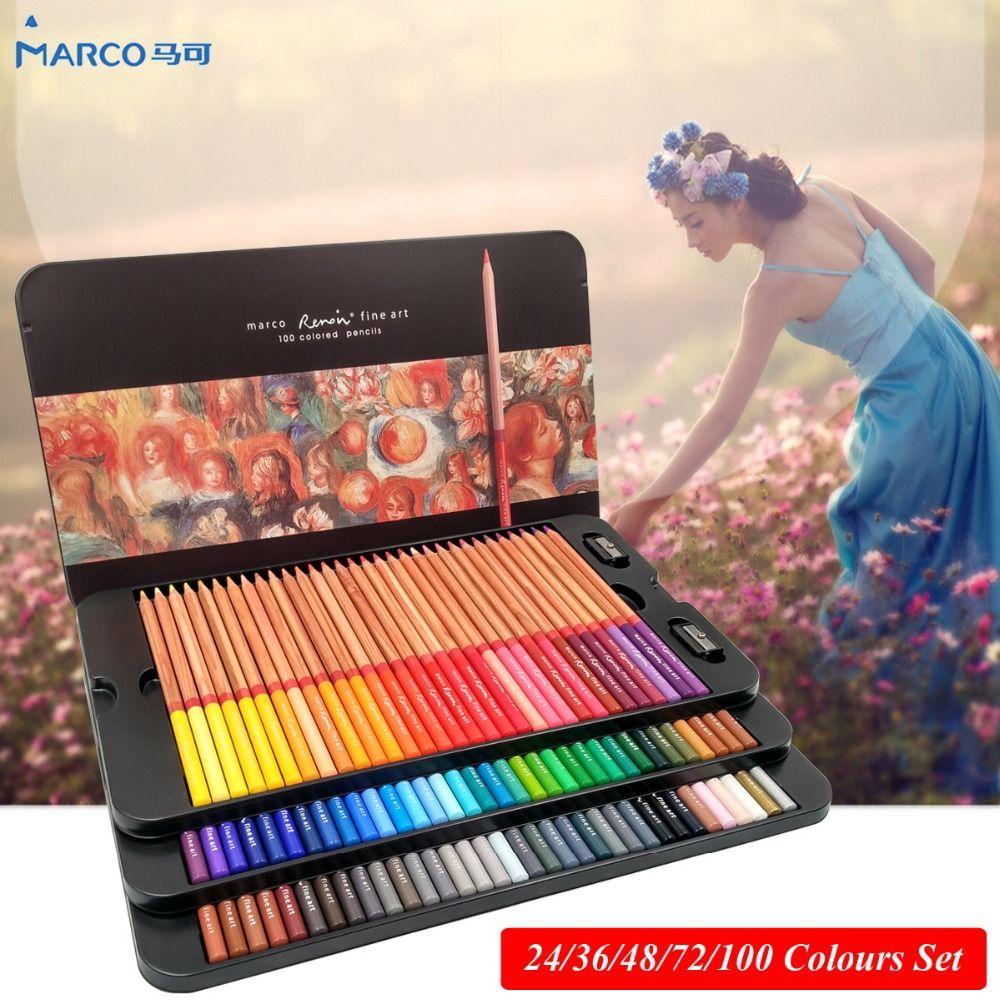 Marco Renoir 24/36/48/72/100 Couleur de Artiste Ensemble crayons de couleur lapis de cor professionnel Dessin Crayons De Couleur pour le Dessin