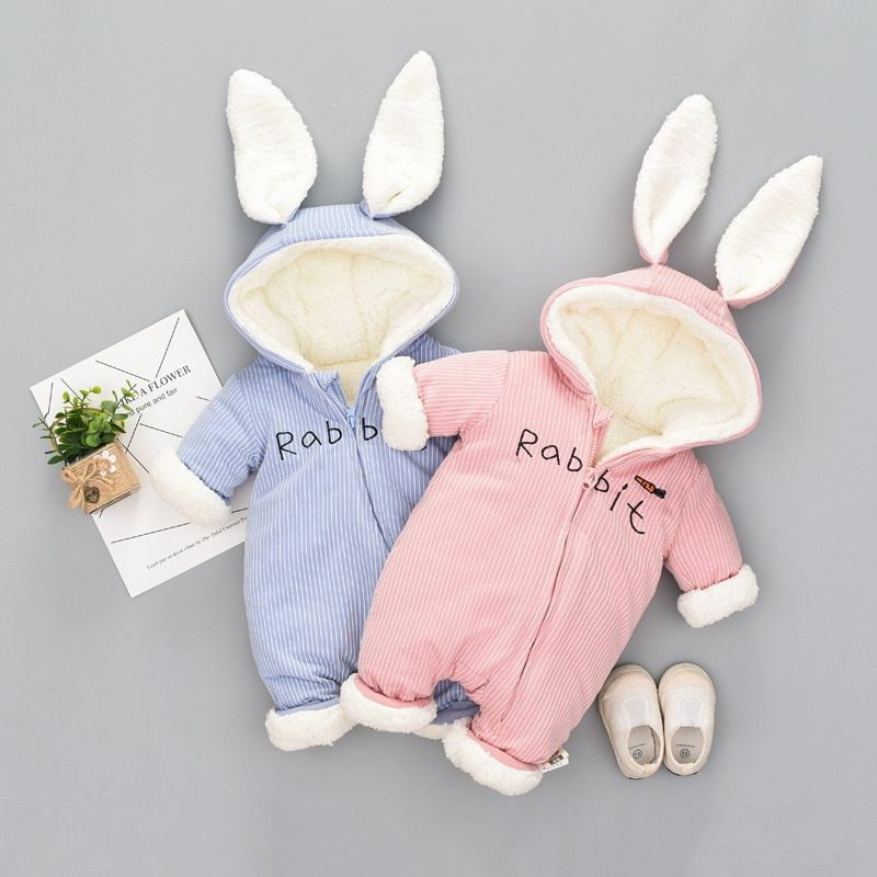 Spring Autumn Baby Rompers Cute Cartoon Rabbit Ear Infant Girl Boy Jumpers Kids Baby Outfits Clothes