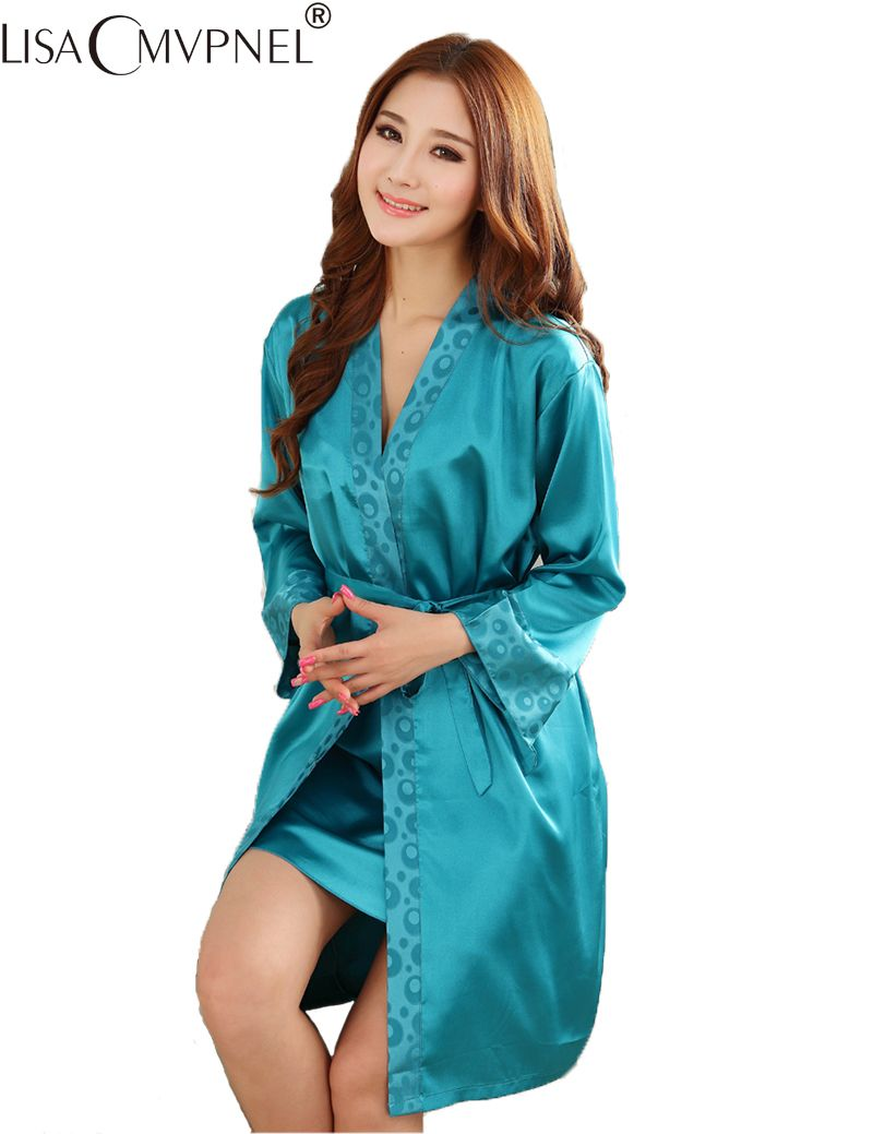 Lisacmvpnel 2016 hot on sale ! 2 pcs silk imitation women pajamas flower print robe sets plus size women cardigans