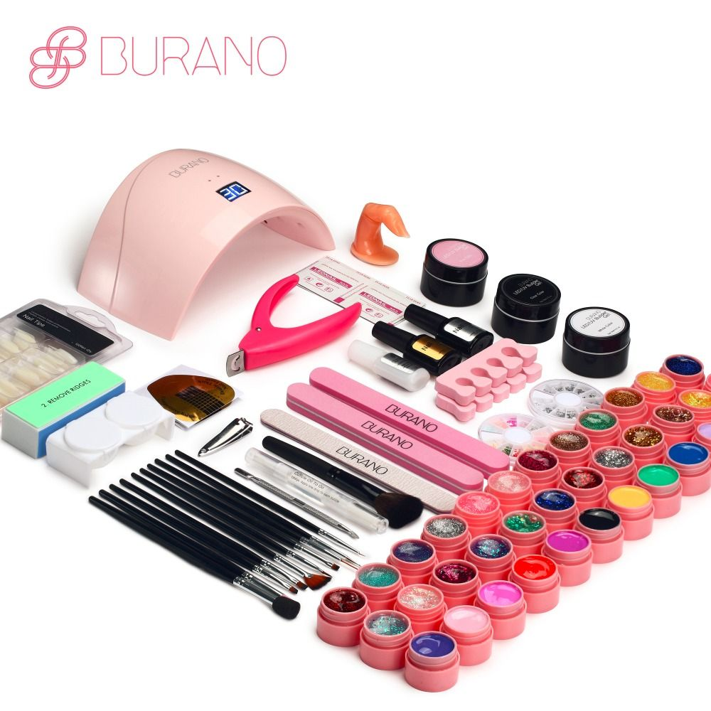 BURANO 24W UV LED Nail lamp dryer 36 color uv led building gel nail remover set brush file kit nail art manicure tools sets &kit