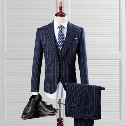 Latest Coat Pant Designs Navy Blue Stripe Double Breasted Men Suits Slim Fit 3 Pieces Tuxedo Custom Made Groom Prom Suits Ternos