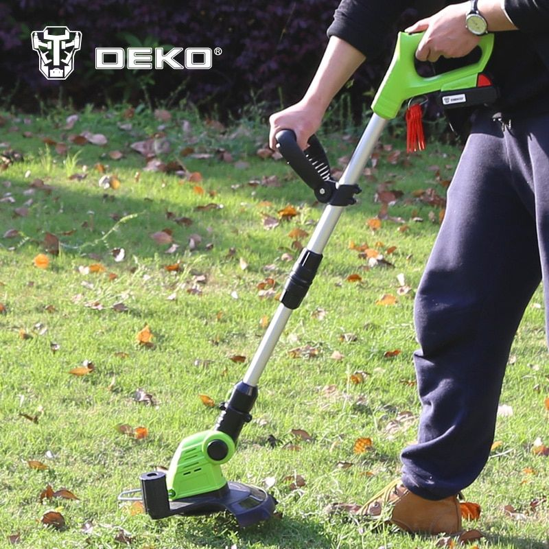 DEKO DKGT06 20V Lithium 1500mAh Cordless Grass Trimmer with Battery Pack and Blade Pendants