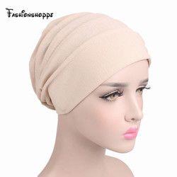 2017 NOUVEAU Femmes Slouchy Snood Beanie ruche turban Musulman Hijab Intérieure baggy Chapeau chimiothérapie Contre Le Cancer Chapeaux pour la perte de cheveux YS231