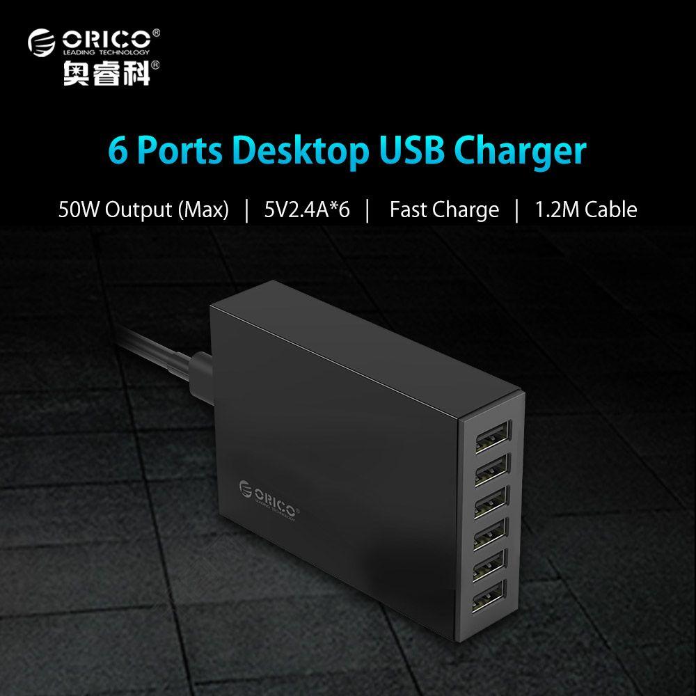 ORICO 5V2. 4A UE/US Plug Chargeur De Bureau Adaptateur 10A50W 6 USB Port Voyage Chargeur pour xiaomi iPhone LG huawei-Noir (CSL-6U)
