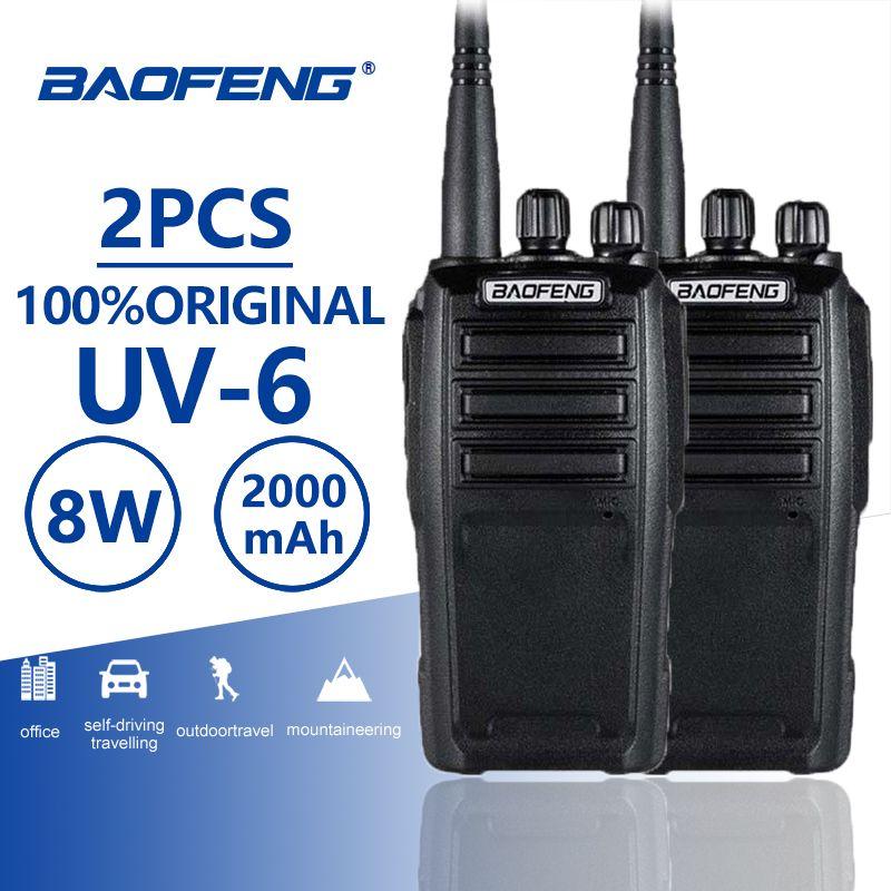 2pcs Baofeng UV-6 Walkie Talkie 8w 2000mAh 128 CH UHF VHF Dual Band Two Way Radio Woki Toki 10KM Police Equipment Radio Amador