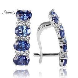 925 стерлингового серебра Танзанит Серьги для Для женщин синий камень Ювелирные украшения для свадьбы
