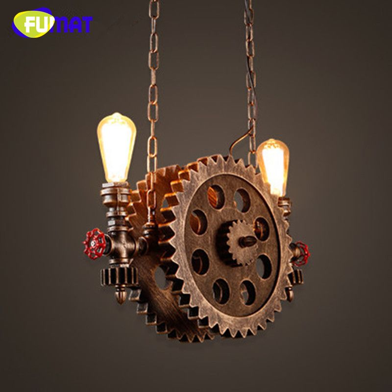 FUMAT Gear Pendant Light Vintage Iron Pipe Pendant Lamps Bar Loft Industrial Hanging Lamp Wood Gear Light Fixture For Restaurant