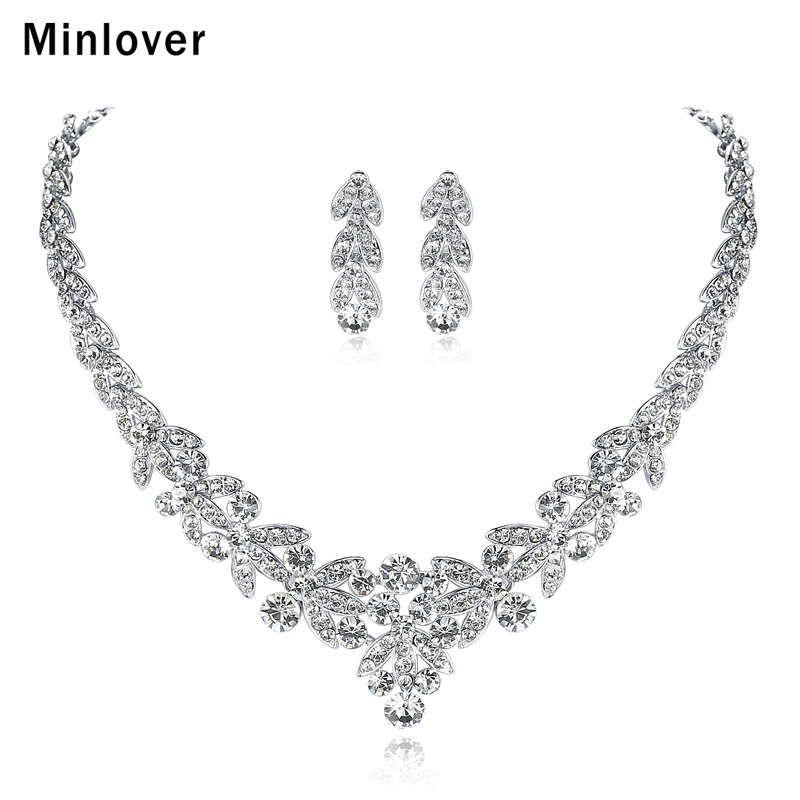 Minlover luxueux argent couleur cristal bijoux de mariée ensembles feuille forme Choker collier boucles d'oreilles bijoux de mariage pour les femmes TL206