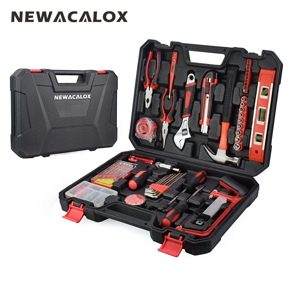 NEWACALOX 110PCS/Set Multifunctional Wood Electrician Combination Hardware Hand Tool Pliers Screwdriver Wrench Knife Ruler+Case