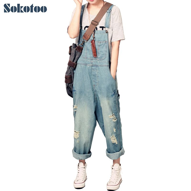 Sokotoo Women's casual loose denim overalls Lady's hole ripped baggy jeans Wide leg pants for woman