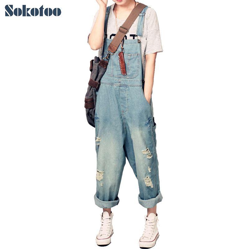 Sokotoo de Femmes occasionnel lâche denim salopette Dame de trou déchiré baggy jeans à jambes Larges pantalons pour femme