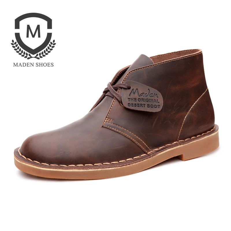 Maden Men Martin Boots Desert Shoes High-top All-matching Split Leather British Style Vintage Wearable Round-toe Crazy Horse