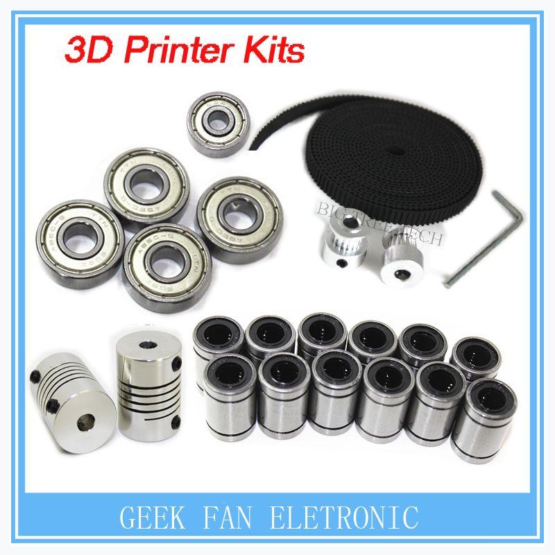 3d printer <font><b>reprap</b></font> i3 movement kit GT2 belt pulley 608zz bearing lm8uu 624zz bearing &5*5 or 5*8 coupler shaft VVV000059